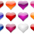 Glossy hearts set — Stock Photo