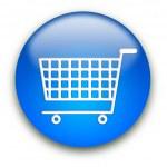 winkelen het winkelmandje aan knop — Stockfoto