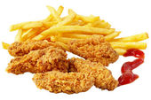Chicken and French fries — Stock Photo