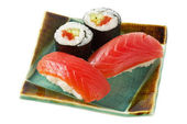 Sushi and roll with salmon isolated ove — Stock Photo