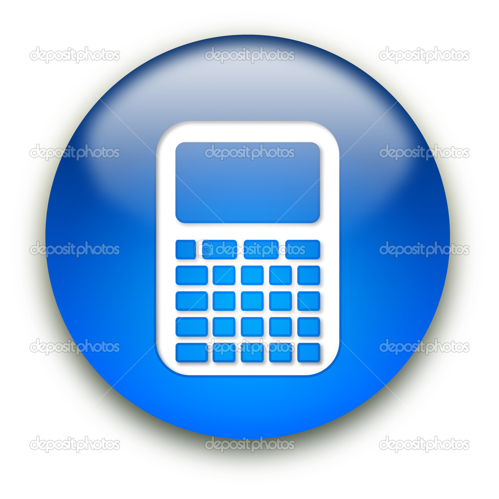 Glossy calculator icon button isolated over white background — Stock Photo #1045140
