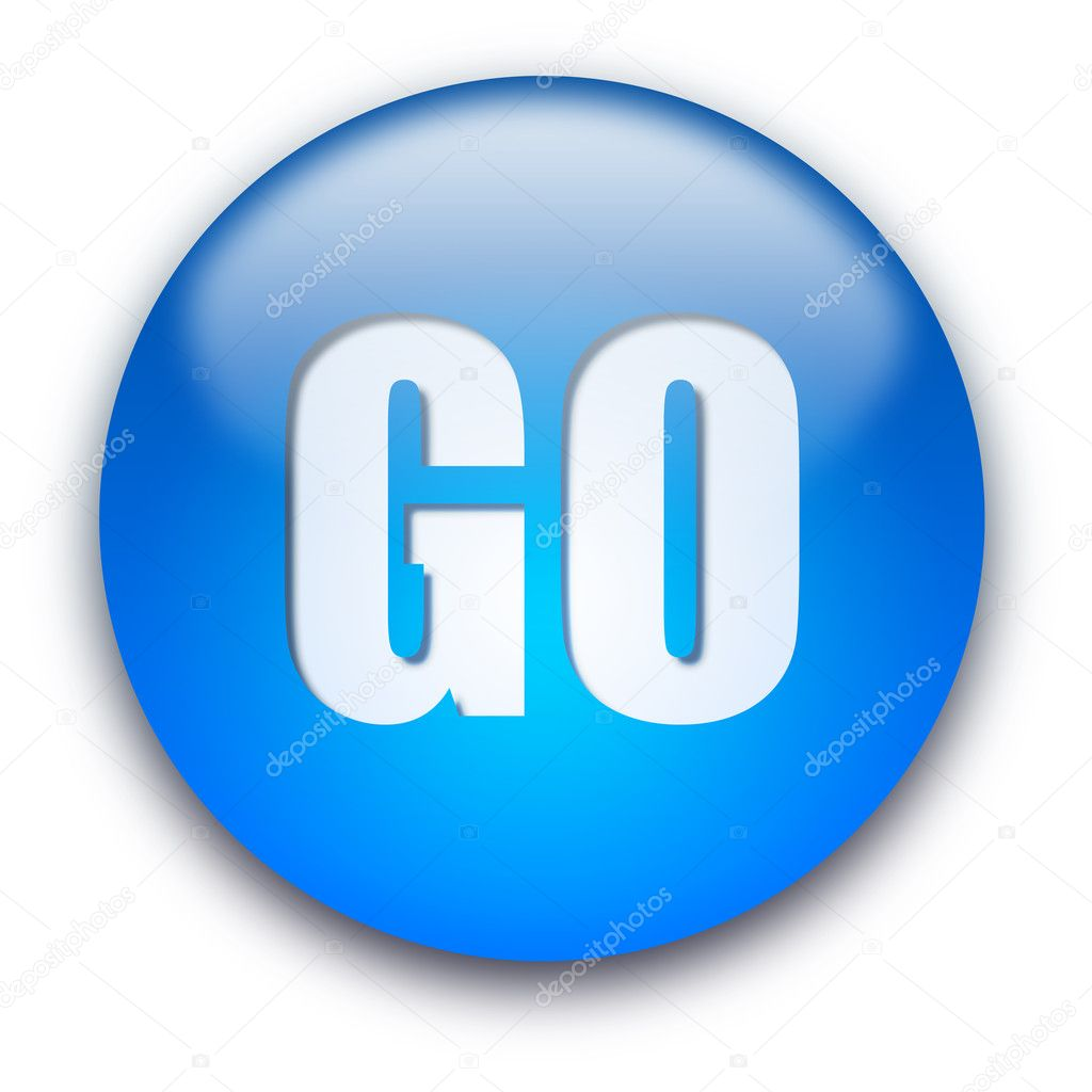 Blue glossy GO button isolated over white background — Stock Photo #1045245
