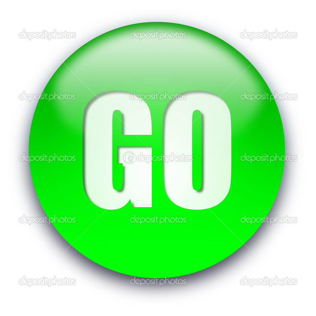 Green glossy GO button isolated over white background  Stock Photo #1045246