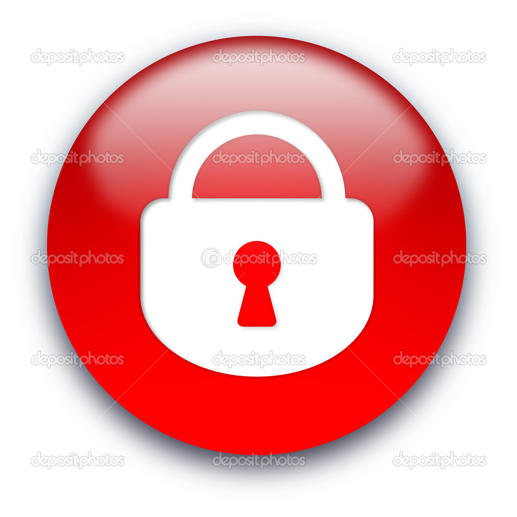 Closed lock round glossy button isolated over white background  Stock Photo #1045301