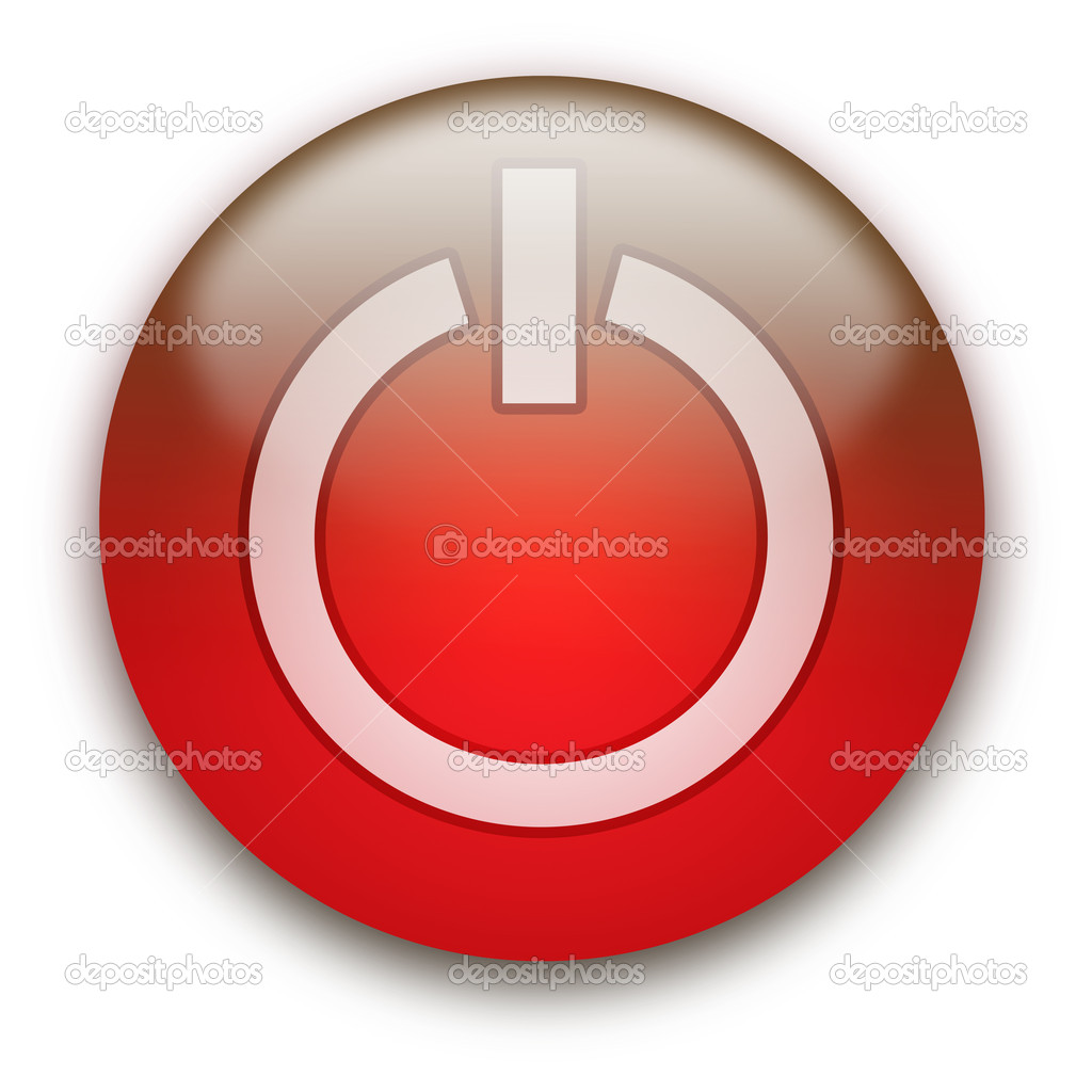 Glossy round On / Off button isolated over white background — Stock Photo #1045381