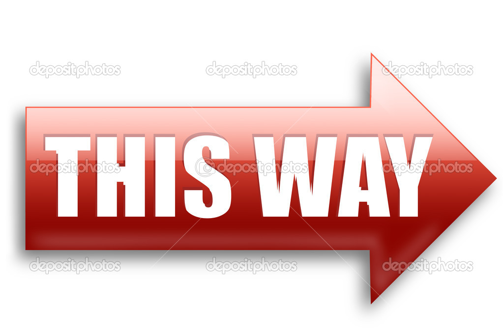 Red glossy This way right arrow isolated over white background — Stock Photo #1045452