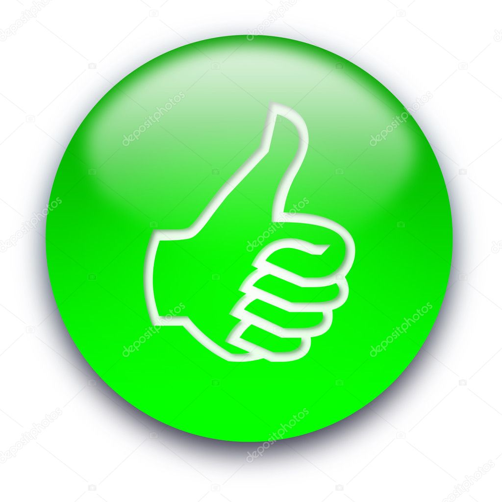 Green glossy button with a thumb turned up — Foto Stock #1045457