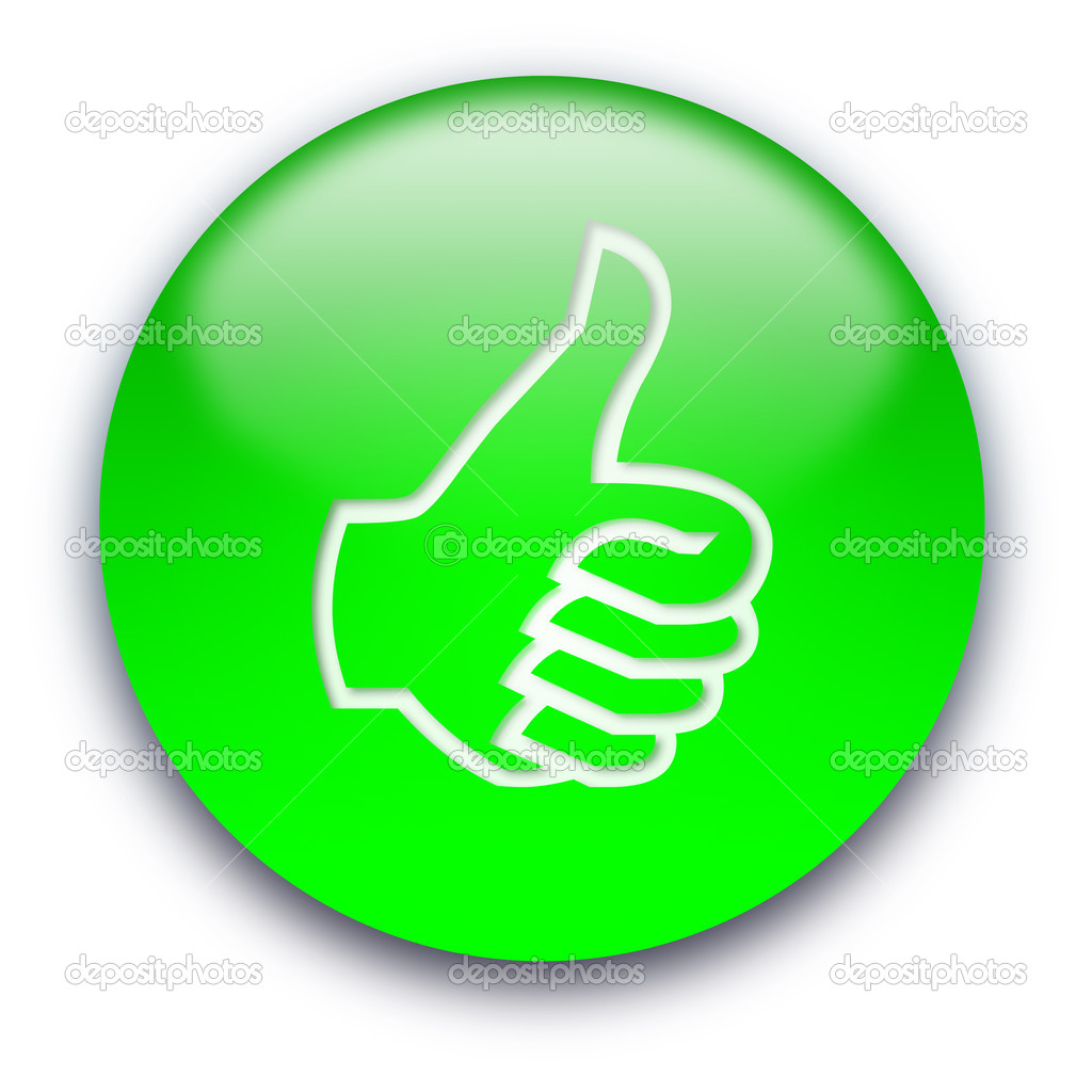 Green glossy button with a thumb turned up — Stockfoto #1045457