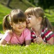 Two little girl lying on the grass in the park. One whispering a secret to another. — Foto Stock #1082632