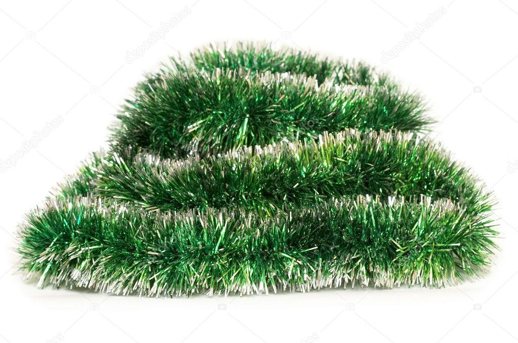 Green Happy New Year tinsel fragment over white background — Stock fotografie #1133842