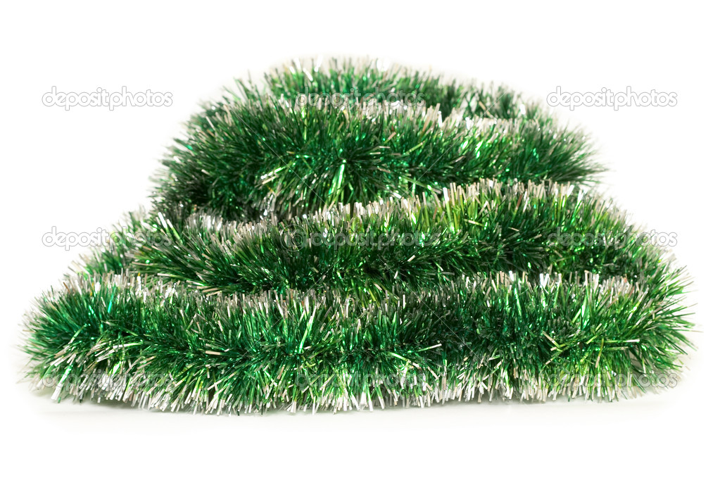 Green Happy New Year tinsel fragment over white background — Foto de Stock   #1133842