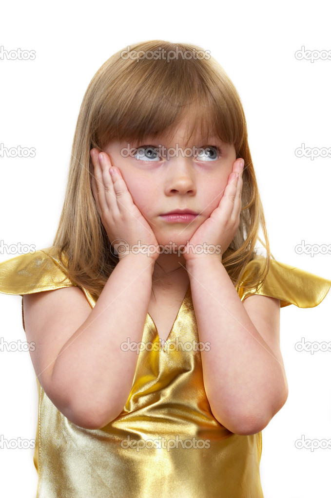 Funny surprised little girl portrait over white background — Stock Photo #1165171