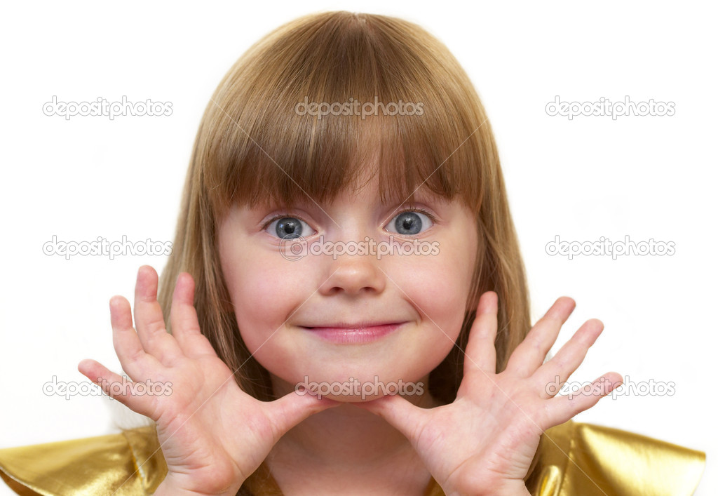 Funny smiling little girl portrait over white background — Stock Photo #1165192