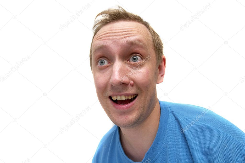 Surprised man portrait isolated over white background (wide angle lens shot) — Stock Photo #1165209