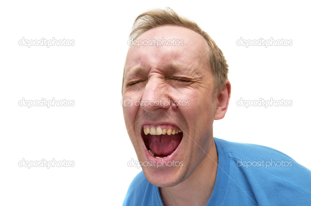 Screaming man portrait isolated over white background (wide angle lens shot)  Stock Photo #1168789