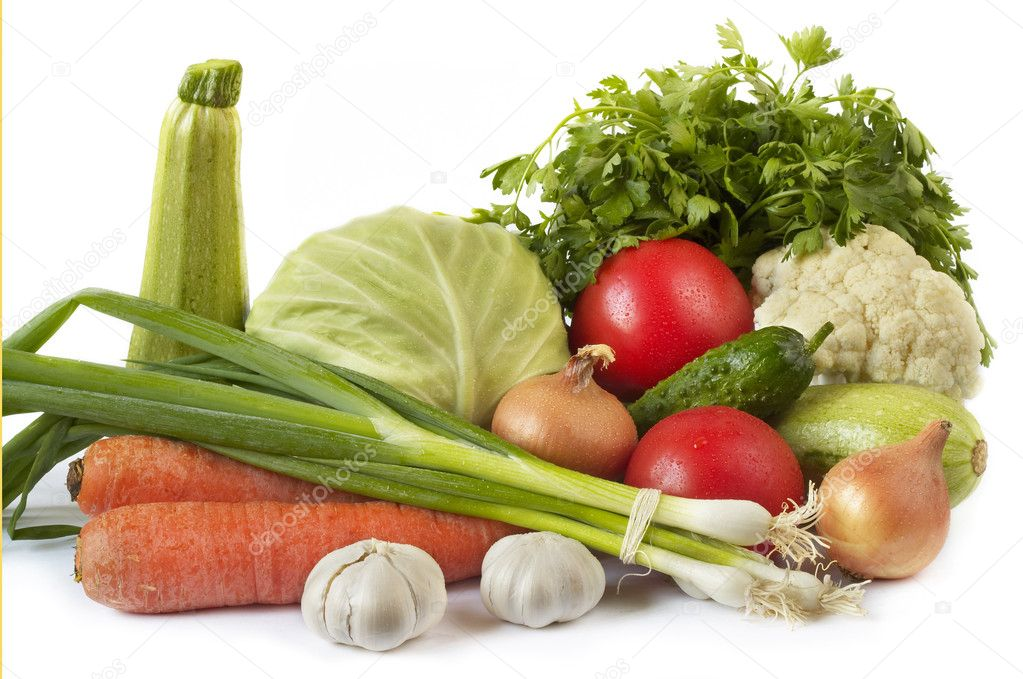 Common vegetables still life isolated over white background — Stock Photo #1170896