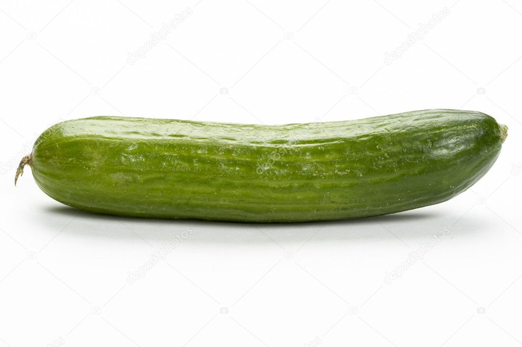 Green fresh cucumber macro shot isolated over white background — Stock Photo #1250992