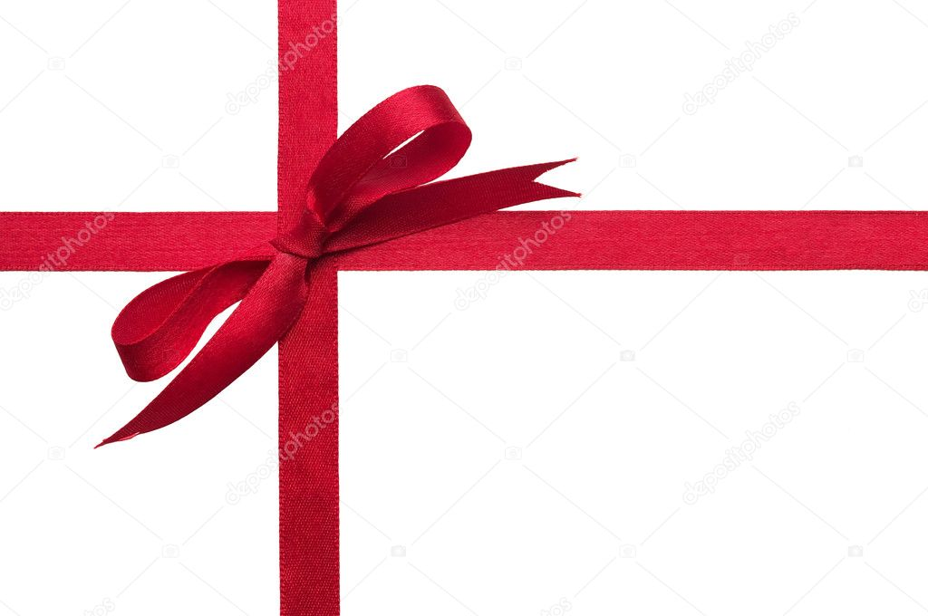 Red gift celebration ribbon bow over white background — Stock Photo #1296754