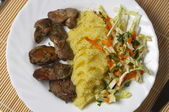 Liver, potato and salad — Stock Photo