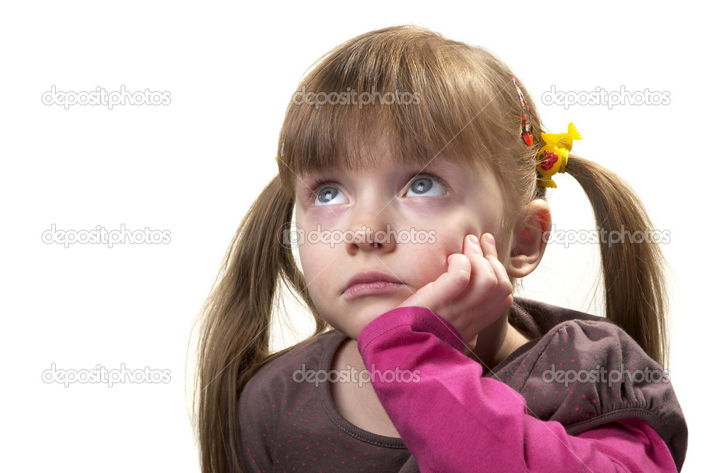 Sad little girl looking up isolated over white background — Stock Photo #2050849