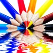 Royalty-Free Stock Photo: Colored pencils on water