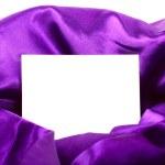 Silk textile border round white paper — Stock Photo