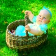 Baby girl in basket — Stock Photo