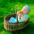 Baby girl in basket eating mushroom — Stock Photo