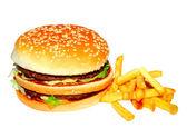 Hamburger and potato — Stock Photo