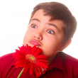 Royalty-Free Stock Photo: Teenager and red flower