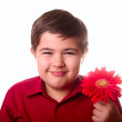 Teenager and red flower — Stock Photo