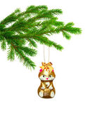 Christmas toy cat on tree — Stock Photo