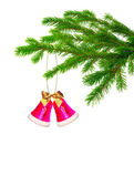 Christmas handbell on tree — Stock Photo