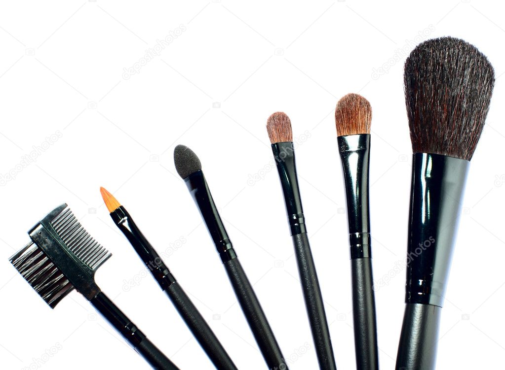 Set of professional makeup brushes on white background — Stock Photo #1153695