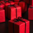 Many red gift boxes — Stock Photo