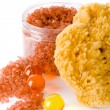 Natural sponge, bath salt and oil balls - Stock Photo
