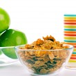Cornflakes, glass of milk and green appl — Stock Photo #1037825