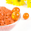 Stock Photo: Bath salt, oil balls in bowl and yello