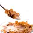 Cornflakes with milk in a bowl - Stock Photo