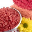 Bath salt, towels and flower — Stock Photo #1038502