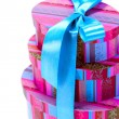 Pyramid of colorfull gift boxes — Stock Photo #1038527