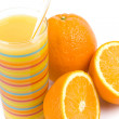 Stock Photo: Glass of juice and oranges