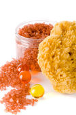 Natural sponge, bath salt and oil balls — Stock Photo