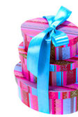 Pyramid of colorfull gift boxes — Stock Photo