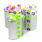 Metal gift boxes — Stock Photo