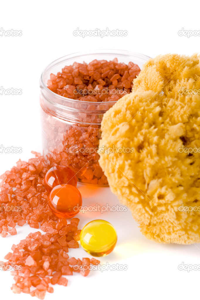 Spa products: natural sponge, bath salt and oil balls  Stok fotoraf #1037770