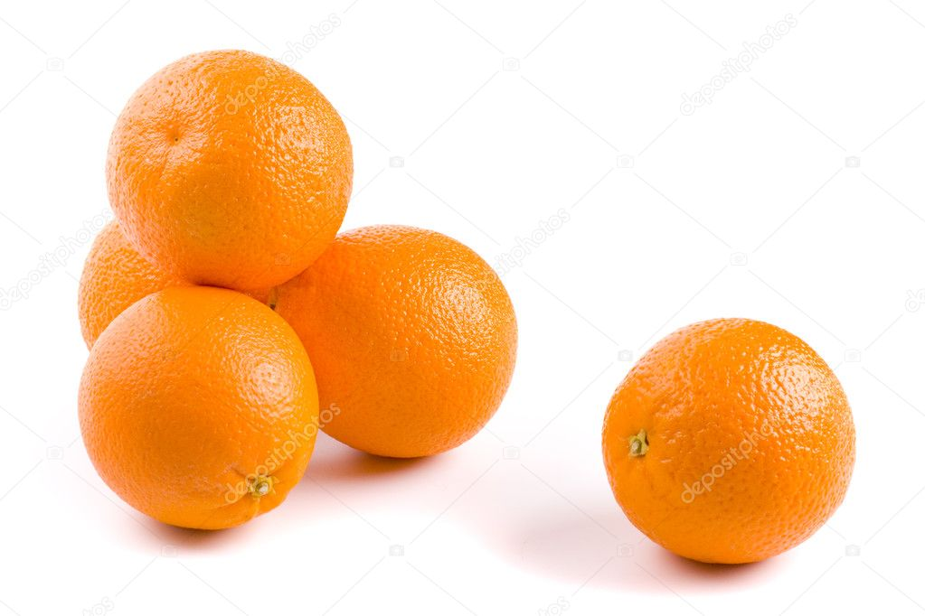 Five fresh oranges on white background — Stock Photo #1039098