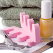 Pedicure beauty set and towel — Stock Photo
