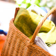 Basket full of towels — Stock Photo