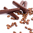 Stock Photo: Chocolate bars and coffee beans